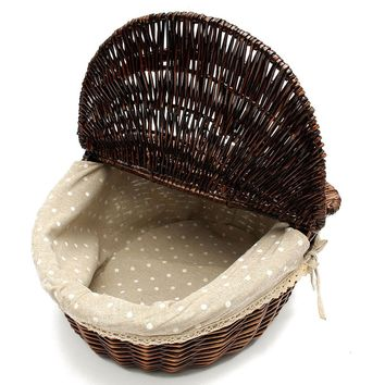 Travel Wicker Hand Picnic Storage Basket Shopping Hamper With Lid and Handle