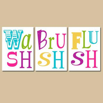 Wash Brush Flush Wall Art, CANVAS or Prints Bathroom Brother Sister Colorful BATHROOM DECOR, Set of 3 Kid Bathroom Rules Wall Decor Pictures