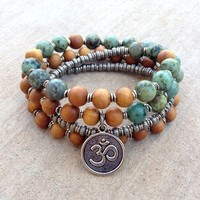 Healing and Change, Sandalwood and African Turquoise 54 Beads Mala Bracelet Or Necklace