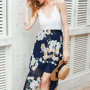 Backless Lace Floral Dress