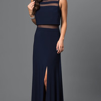 Navy Prom Dress by Morgan with Illusion Accents