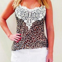 Hot sell summer fashion white lace Leopard print Condole belt women casual tank top blouse = 1667443140