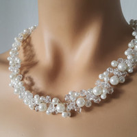 Pearl Necklace, Wedding Necklace, Bridal Jewelry Necklace France Flower-FREE SHIPPING