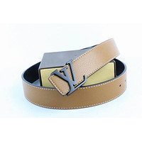 Louis Vuitton Woman Men Fashion Smooth Buckle Belt Leather Belt Skin Belts LV Beltt102