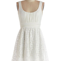 Tank top (2 thick straps) A-line Artisan Iced Tea Dress in Coconut