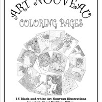 "Adult Coloring Book, Art Nouveau, digital download, black & white - ""S.Mac's Art Nouveau Coloring Pages"""