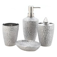 Hammered Silver Texture Bathroom Accessory Set