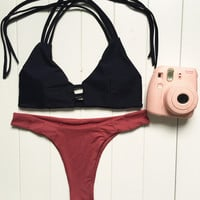 Black Red Patchwork Bandage Bikini Set