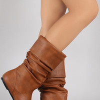 Wild Diva Lounge Vegan Leather Slouchy Flat Boots