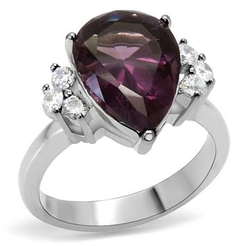 Band Rings TK167 Stainless Steel Ring with Synthetic in Amethyst