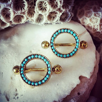 Tribal Antique Gold Nipple Bar Turquoise Gem Ring | Nipple Shield 14G Body Jewelry Piercing Flower Nipple Piercing Nipple Ring Jewellery