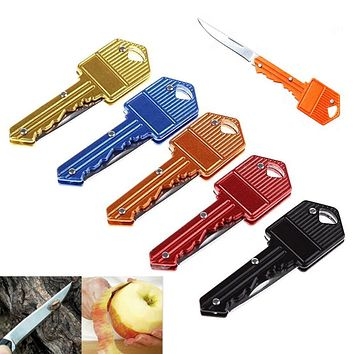 Mini Key Knife Keyring Fold Pocket Pare Fruit Blade Box Package Letter Open peel Cut Camp Peeler Outdoor Survive Opener gadget