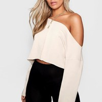 Plus Jess Off Shoulder Tonal Sweater | Boohoo
