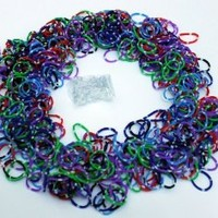 """Polka Dot Color Rainbow Rubber Loom Rainbow Bands 600 Pieces with 24 """"S"""" Clips"""