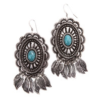 Shop Women's M&F Turquoise Engraved Drop Feather Earrings