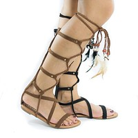 Aries6 By Liliana, Knee High Gladiator Feathered Lace Up Leg Wrap Flat Sandals
