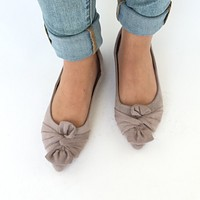Tied In Knots Suede Flats in Taupe