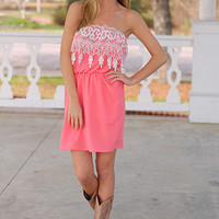 Crochet Pocket Dress, Coral