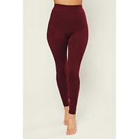 Waiting For The Weekend High Waisted Basic Leggings (Burgundy)
