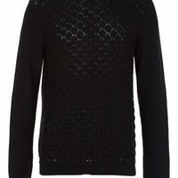 Black Scallop Front Sweater