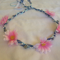 Pretty in pink daisy and blue chain flower crown