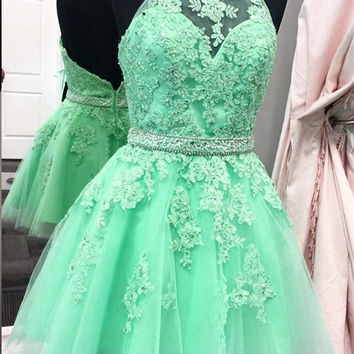 Green Backless Beads Homecoming Dress, Halter Tulle Short Homecoming Dress