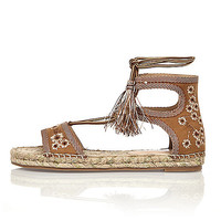 Light brown embroidered espadrille sandals - sandals - shoes / boots - women