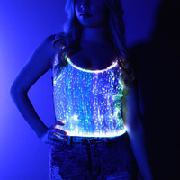 Fiber Optic Tank Top: Color changing lights with remote for Burning Man, EDC, Tomorrowworld, Ultra, Festival, Rave