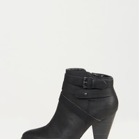 Ankle Wrapped Buckled Booties - Black