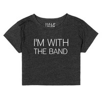 I'm with the band crop top-Female Heather Onyx T-Shirt