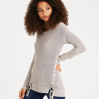 AEO Braided Lace-Up Sweater, Holiday Heather Brown
