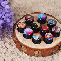 Pair Screw Acrylic Ear Gauges Plugs Earlet Piercing Jewelry Tunnels Stretching