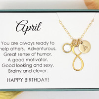 April birthday gift or her Gold necklalce Crystal April Birthstone Initial necklace personalized gift for wife, best friend, girlfriend