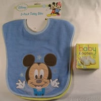 Disney 2 Terry Bibs Blue Mickey Mouse Green Pluto Baby Booties Knit Shower Gift