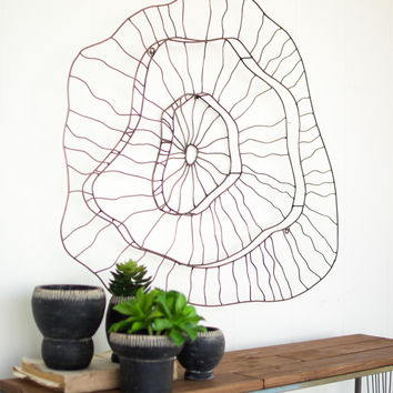 3 Tiered Wire Abstract Wall Sculpture - Copper Finish