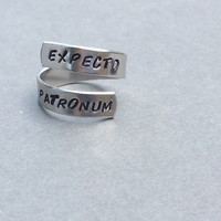 Expecto Patronum Harry Potter Ring Hand Stamped Aluminum Ring