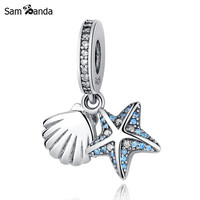 Authentic 925 Sterling Silver Beads Starfish & Shell with Crystal Pendant Charms Fit Pandora Bracelets