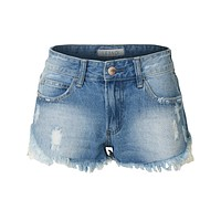 Low Rise Crochet Frayed Hem Distressed Denim Shorts (CLEARANCE)