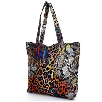 Multi Color Rainbow Leopard Print Ecco Tote Bag