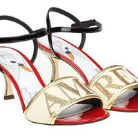 Dolce & Gabbana Women's Leather Fabric High Heel Sandals Shoes