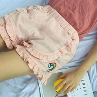 2017 Winter Korean New Women retro bts solid color folds kawaii rainbow embroidery Harajuku elastic waist plus size Shorts