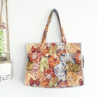 Boho Cat Lady Bag~ Cat Tapestry Purse~ Kitsch Handbag~ Vintage Kittens Shoulder Bag~ Diaper bag~ Cat Lady Handbag~ Gypsy Bag~ Bohemian Purse