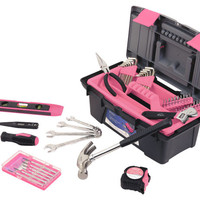 53 Piece Household Tool Kit with Tool Box Pink