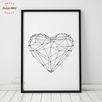 900D Geometric Heart Shape Canvas Art Print Painting Poster, Wall Pictures for Home Decoration, Wall Art Decor FA153