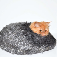 Silver cat bed, wool cats, cave Size L, pets house READY TO SHIP