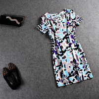 Printed Cuout Short-Sleeve Bodycon Dress