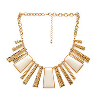FOREVER 21 Lacquered Fringe Necklace Gold/White One