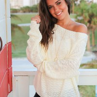 Ivory Knit Top with Draped Neckline
