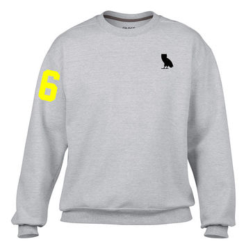 New Drake 6 / OVO Owl Grey Crewneck Sweatshirt/Sweater (Toronto, The 6ix, The Six, Raptors, RTZ, Blue Jays, OVOXO, Topszn)