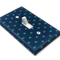 Green and Navy Blue Polka Dot Light Switch Cover